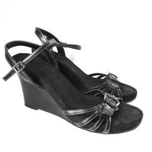 Aerosoles Wedge Black Sandals Size 11